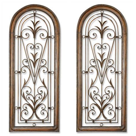 Arched Wall Decor two 50 quot brown arched forged metal mexico style wall window decor ebay