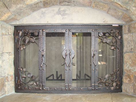 custom iron fireplace doors bronze iron fireplaces