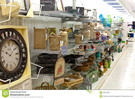 home goods shelves with home decoration products