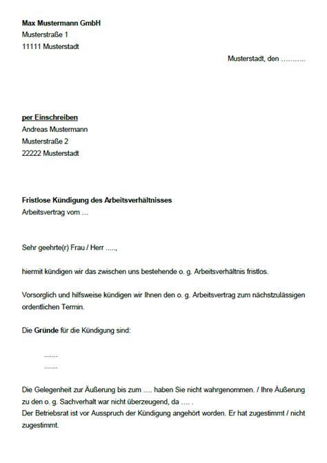 Vorlage Kündigung Arbeitsvertrag Arbeitgeber Fristlos 42 Abmahnungen Und K 252 Ndigungsschreiben Im Paket