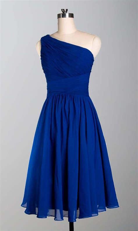 Simple Blue Dress one shoulder simple slim blue bridesmaid dresses