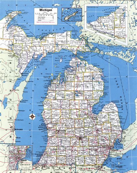 map of cities in michigan large detailed administrative map of michigan state with
