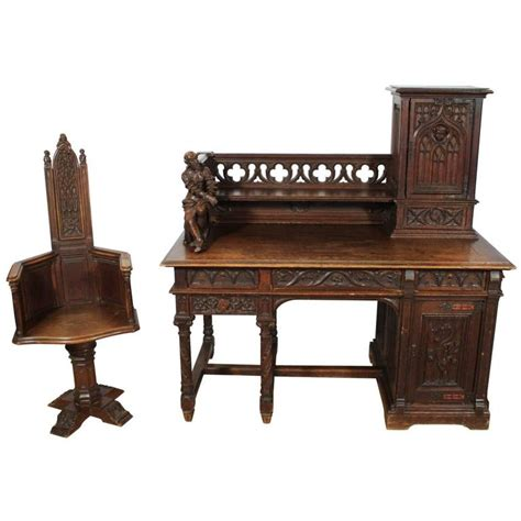 Lancaster Cabinets Gothic Desk And Chair Alphonse De Tombay Dated 1891 For