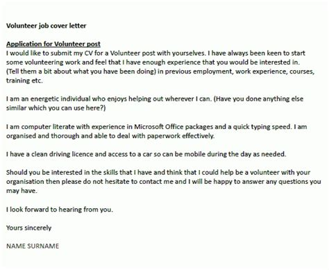 cover letter exles for charity work cover letter for volunteer work the letter sle