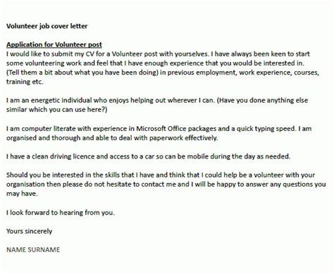 cover letter for volunteer work the letter sle