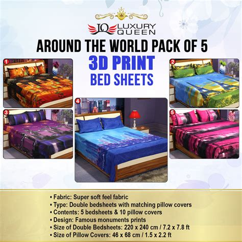 best bed sheets for the price buy around the world pack of 5 3d bedsheets 5bs20 at best price in india on naaptol
