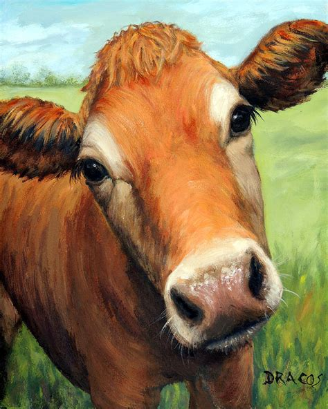 scow paintings young jersey cow in field painting by dottie dracos