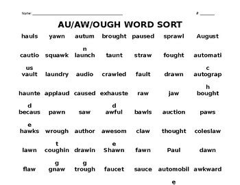 au pattern words au aw ough word sort by teaching hearts teachers pay
