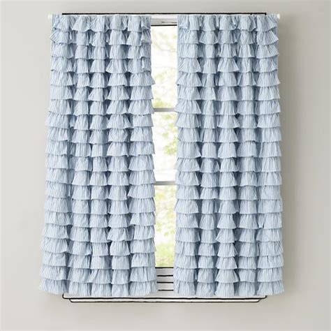 land of nod curtains light blue ruffled curtain panels the land of nod