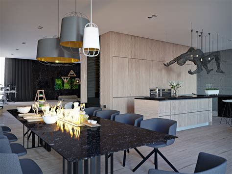 black marble dining table chic studio apartments with artsy accents