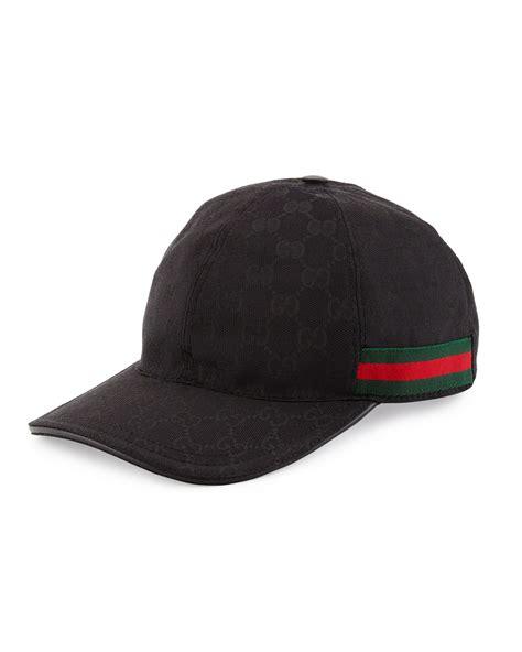 gucci gg print baseball cap w web trim in black for