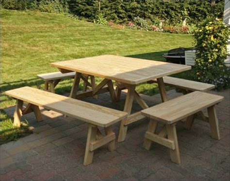 free picnic table plans with separate benches picnic table plans free separate benches quick woodworking projects