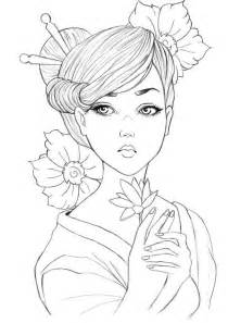 Geisha Coloring Pages geisha colouring page asian coloring pages