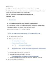 Driving Essay Outline by Texting And Driving Persuasive Essa