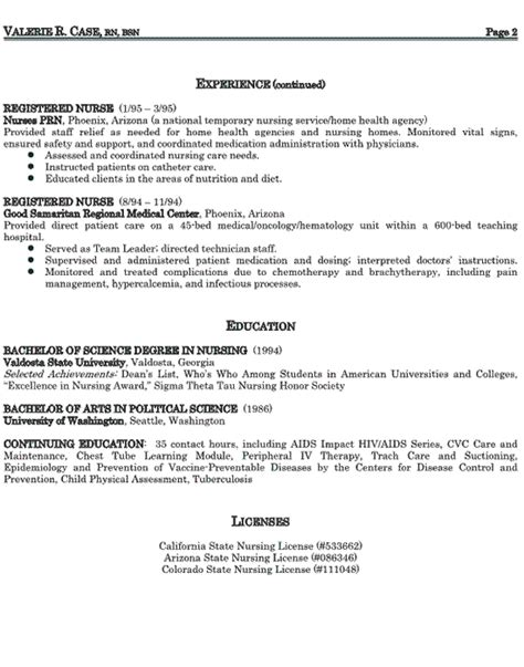 Resume Exles For Home Health Nurses Home Health Resume Sop