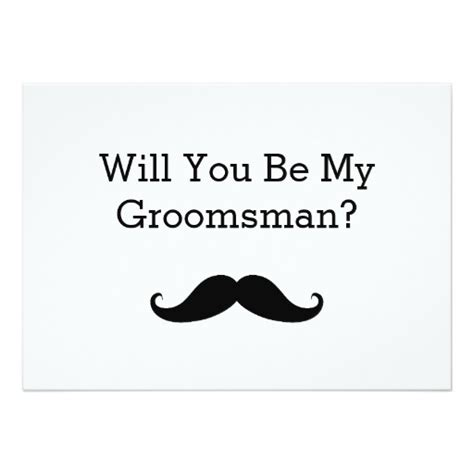 will you be my in will you be my groomsman black mustache card zazzle