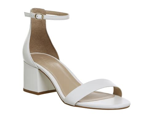 White Sandal office finley block heel sandals white leather mid heels