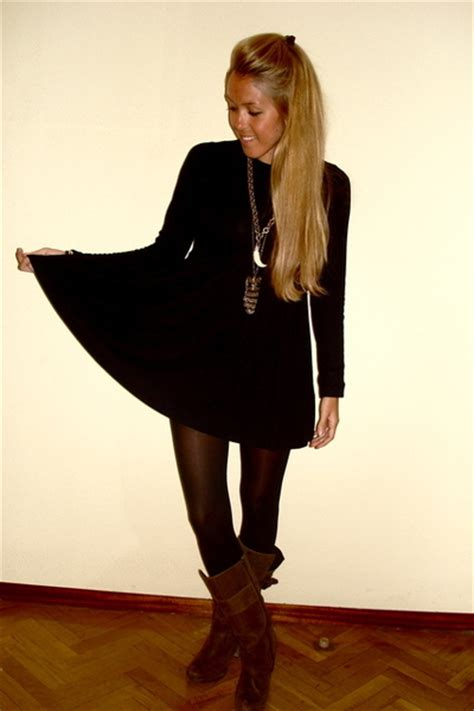 black zara dresses brown zara boots gold vintage