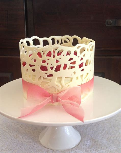 Chocolate Lace Decoration by White Chocolate Lace Collar White Chocolate Mud Cake Strawberries Cakes Lace