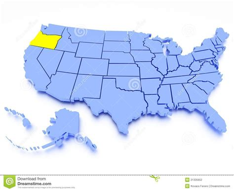 3d map of oregon 3d map of united states state oregon stock photography