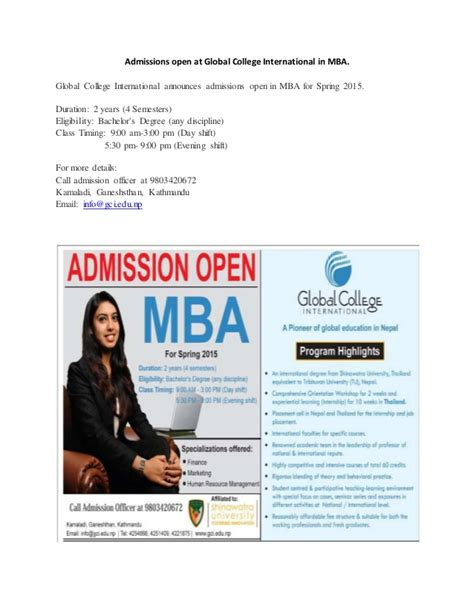 Open Mba by Admissions Open At Global College International In Mba