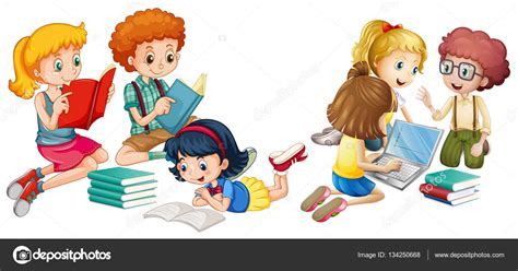 imagenes de niños leyendo y escribiendo ni 241 os leyendo libros y trabajo en equipo vector de stock