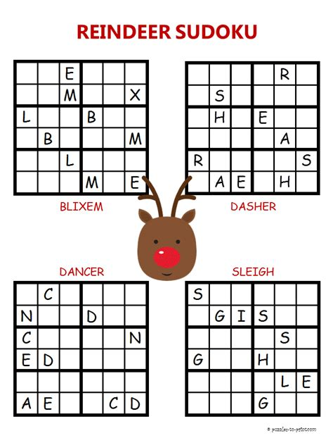 Printable Holiday Sudoku | christmas sudoku reindeer
