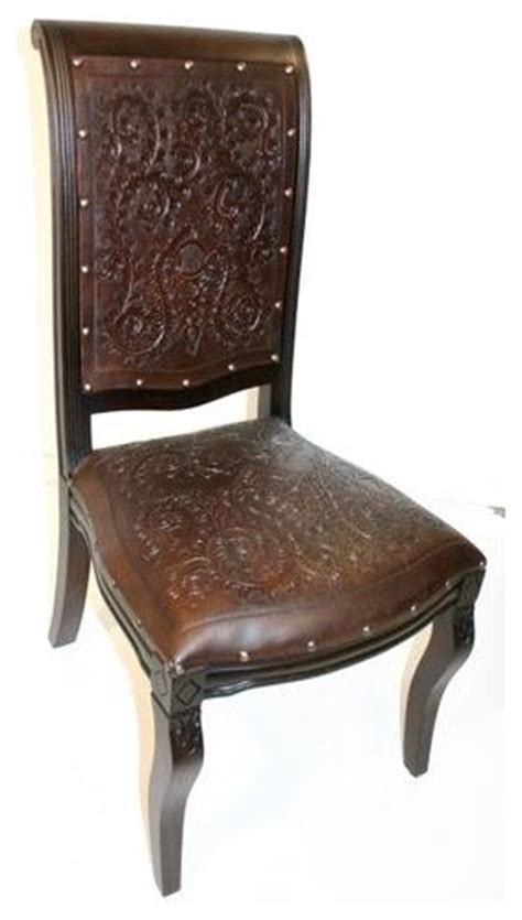 colonial imperial side dining chair w tooled leather seat