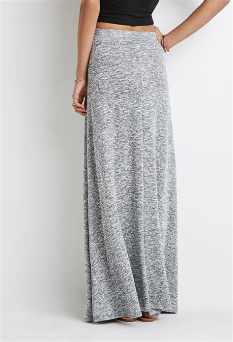 knit maxi skirt forever 21 marled knit maxi skirt in gray lyst