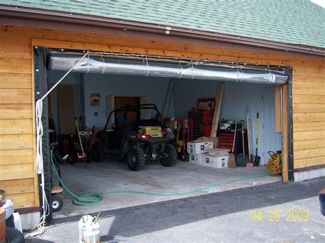 garage door plastic curtain solar heated shop garage using vinyl curtain