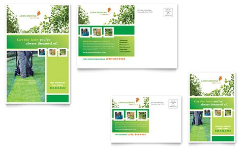 lawn mowing service postcard template word publisher