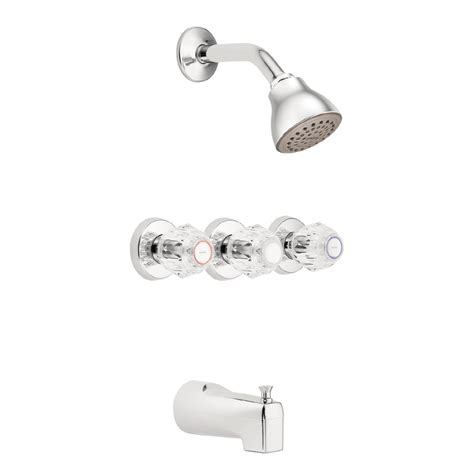 Moen Shower Faucet Handles by Shop Moen Chateau Chrome 3 Handle Shower Faucet With