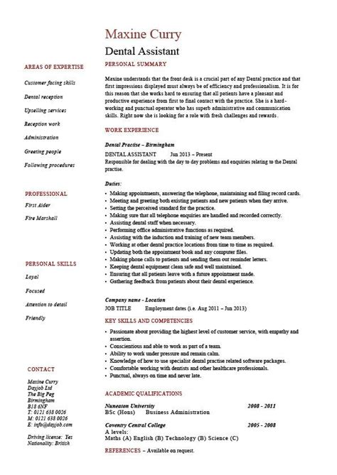 resume templates for a dental assistant dental assistant resume dentist exle sle job