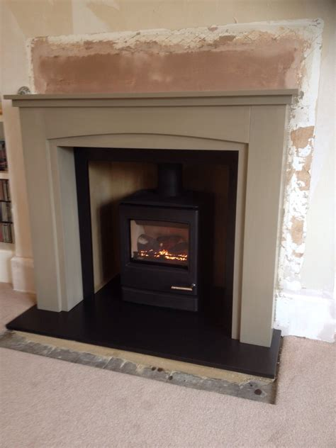 Painting Slate Fireplace by Yeoman Cl5 Gas Stove With Wood Surround Painted