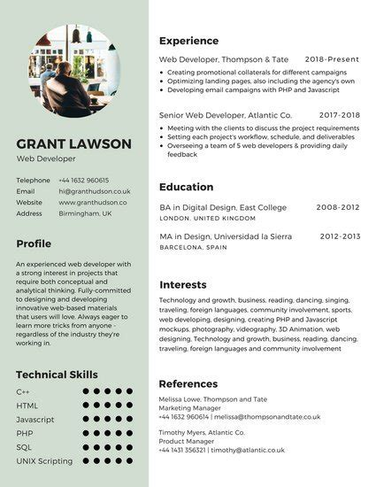 Canevas Cv by Customize 122 Infographic Resume Templates Canva