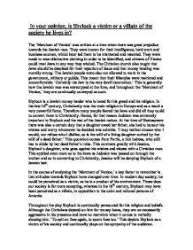 Shylock Victim Or Villain Essay Introduction by Shylock A Victim Essay