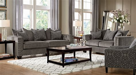 wonderful grey living room sets design dark grey living cindy crawford home sidney road gray 7 pc living room