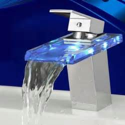 chrome finish single handle mount led glass waterfall