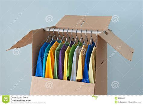 clothing wardrobe box colorful clothing in a wardrobe box for moving royalty