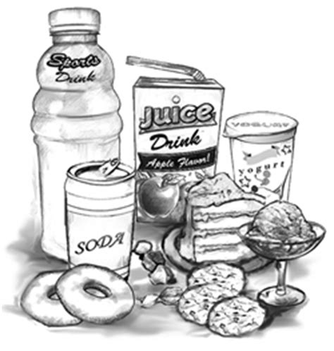 carbohydrates drawing drawing of drinks and foods with added sugars including a