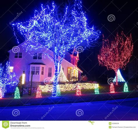 best decorated homes blue and red christmas stock photo image of seasonal