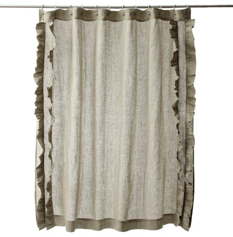 Cotton Shower Curtains Ruffled Cotton Linen Shower Curtain Contemporary Shower Curtains By Overstock