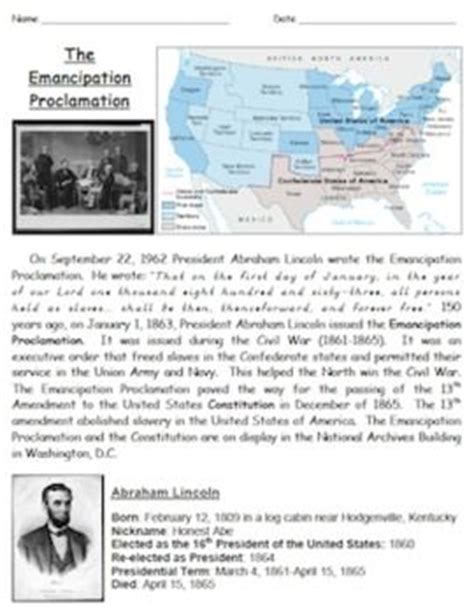 emancipation proclamation worksheet pin by meghan on history