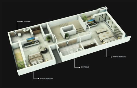 3d floor plan 2bhk l amour calmare