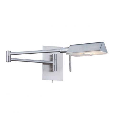 adjustable swing arm modern swing arm wall light in satin silver finish
