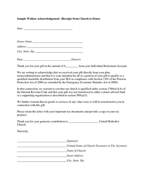 donor acknowledgement letter template writing acknowledgement