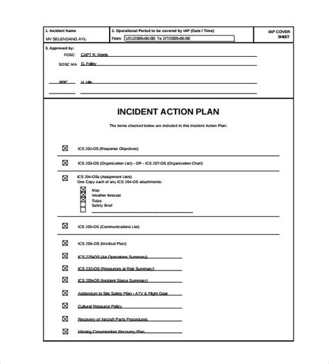 incident action plan template 9 download documents in