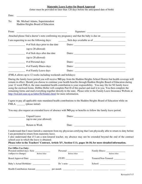 6 Maternity Leave Letter Templates Pdf Free Premium Templates Maternity Leave Contract Template