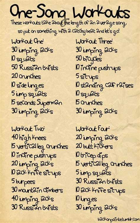 some workouts that should take you about 3 or 4