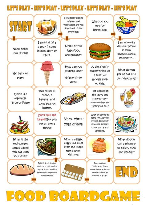 printable board games for young learners food boardgame worksheet free esl printable worksheets